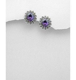 Marcasite/Purple Earrings