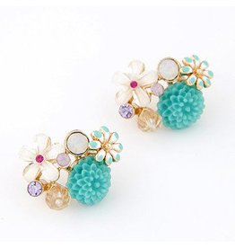 Studs:  Multi Flowers Teal
