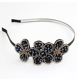 Hairband:  Beaded Flower BLK