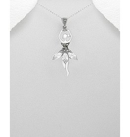 Necklace- Sterling Fairy W/Crystal