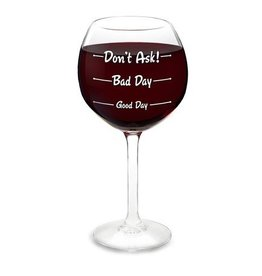 Big Mouth Inc Wine Glass- How Was Your Day?