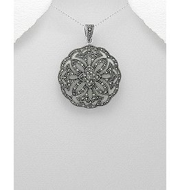 Sterling Necklace- Large Marcasite Circle