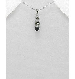 Necklace- Marcasite/Triple Drop