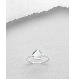 Sterling Ring-Hexagon W/Shell