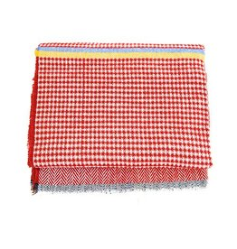 Scarf- Fringed W/Red Houndstooth