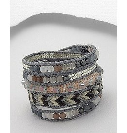 Bracelet- Woven in Grey/Gemstone