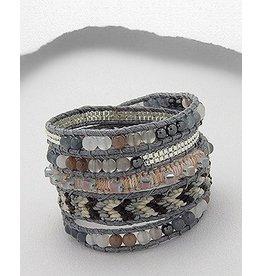Bracelet- Woven in Grey/Gemstone