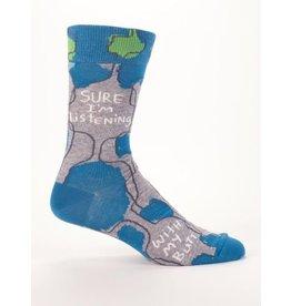 Blue Q Men's Socks- Sure I'm Listening
