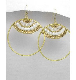 Earrings- Golden Beaded Circles