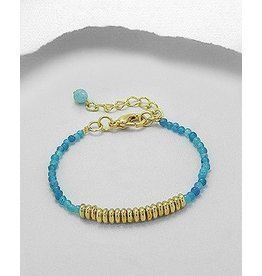 Bracelet- Jade/W Gold Beads