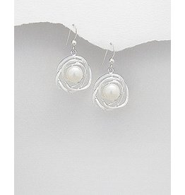 Sterling Pearl Woven Circle Drops