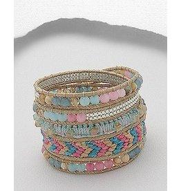 Bracelet- Woven in Pinks/Gemstone