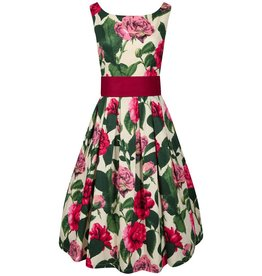 Dress- Lana Burgundy Rose Print by Lindy Bop