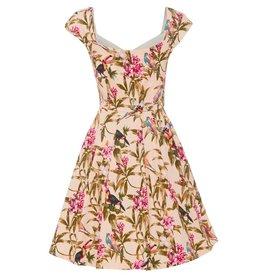 Dress- Nadia in Tropical Bird Print by Lindy Bop