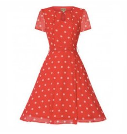 Dress- Bretta Coral Polka Dot by Lindy Bop