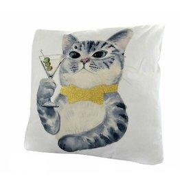Nostalgia Import Pillow - Cat W/Martini