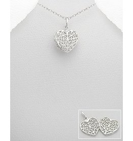 Sterling Necklace- Sterling Filigree Heart Locket