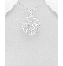 Sterling Necklace- Circle W/Multi Circles