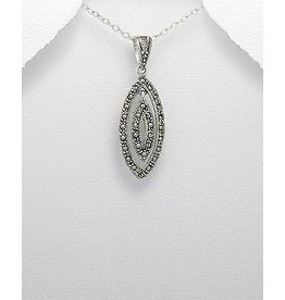 Sterling Necklace- Marcasite Ovals