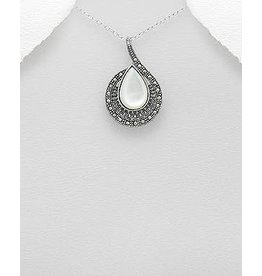 Sterling Necklace- Marcasite Swirl W/MOP