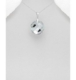 Sterling Necklace- Swarovski Large Circle