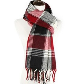 nairn Blanket Scarf in Black/Burgundy Plaid