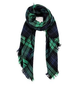 nairn Blanket Scarf in Green/Blue Plaid