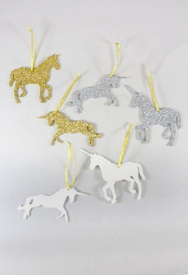 Glittered Unicorn Ornament