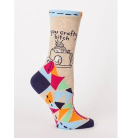 Blue Q Crew Socks-Crafty Bitch
