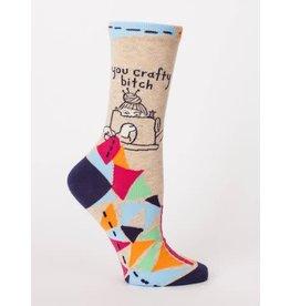 Blue Q Crew Socks-Crafty Bitch