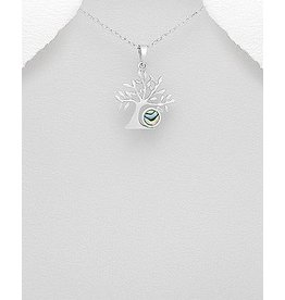 Sterling Necklace- Tree W/Abalone