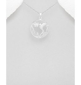 Sterling Necklace- Hummingbird W/Flower