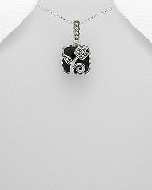 Sterling Necklace- Marcasite Flower W/Onyx