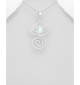 Sterling Necklace- Coil Pendant W/Moonstone