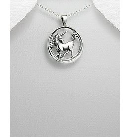 Sterling Necklace- Circle W/Unicorn