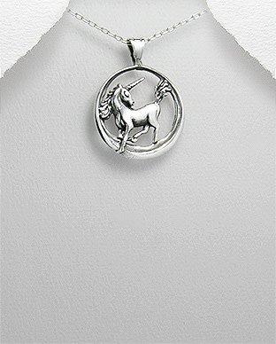 Sterling Necklace- Circle W/Unicorn