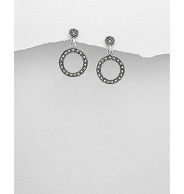 Sterling Sterling Drops- Marcasite Circles