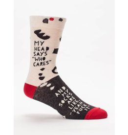 Blue Q Men's Socks-Head Says Who Cares