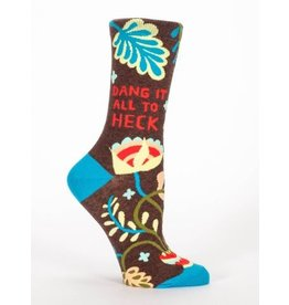 Blue Q Crew Socks-Dang It All To Heck