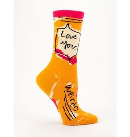 Blue Q Ladies Crew Socks-Love You Weirdo