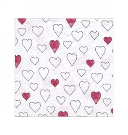 Cocktail Napkins-Hearts Red/Wht