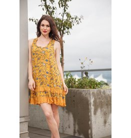 Papillon Belle Dress in Mustard Floral