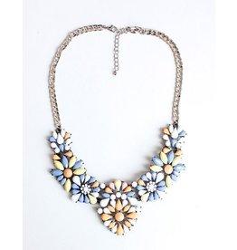 Diamond Rocket Tangerine/Lavender Bib Necklace