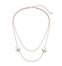 Diamond Rocket Double Bird Strand Necklace