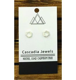 Cascadia Jewels Studs- Hexagon