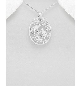Sterling Necklace- Bird and Leaf