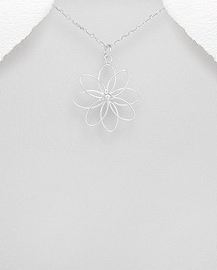 Sterling Necklace- Wired Flower