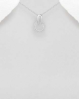 Sterling Necklace- Circle W/CZ