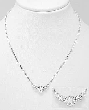 Sterling Necklace- Cz Row