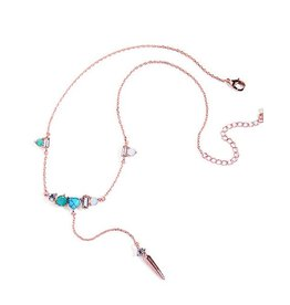 Diamond Rocket Lariat Necklace W/Gems and Stones
